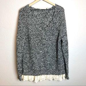 Soft Surroundings Knit Sweater V-Neck Lace Hem